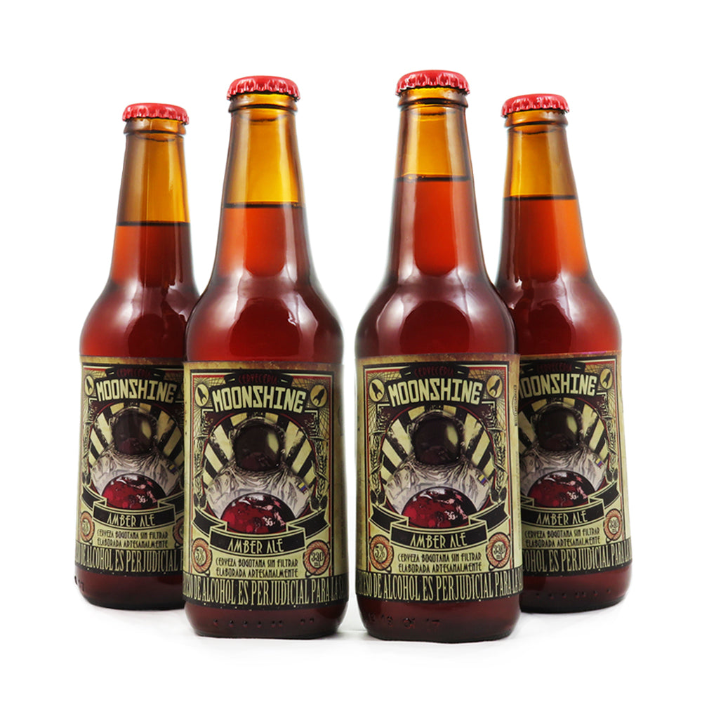 4 PACK - BEER HAPPY - CERVEZA ARTESANAL - COLOMBIANA - MOONSHINE - AMBER ALE - 330 ML - 5°