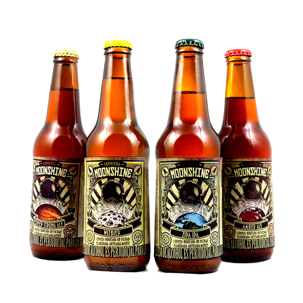 4 PACK - BEER HAPPY - CERVEZA ARTESANAL - COLOMBIANA - MOONSHINE X 4 - 330 ML - COMBO