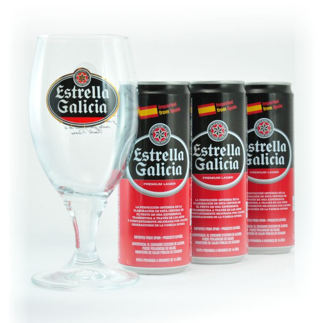 3 PACK ESTRELLA GALICIA - 330 ML + COPA - KIT BEER HAPPY