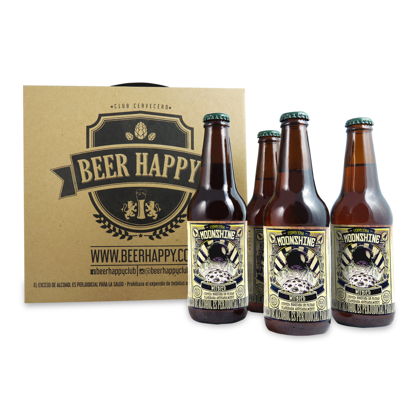 4 PACK - BEER HAPPY - CERVEZA ARTESANAL - COLOMBIANA - MOONSHINE - WITBIER - 330 ML - 5°