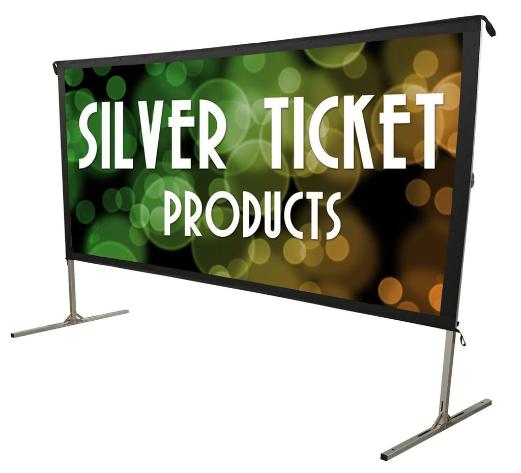 "Silver Ticket Indoor/Outdoor 120"" Diagonal 16:9 4K Ultra HD Ready HDTV Movie Projector Screen Front Projection White Material with Black Back (STO 16:9, 120)"