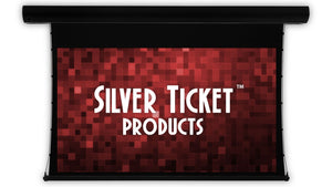 "Silver Ticket 100"" Diagonal 16:9 Format Matte White Dual Wall/Ceiling Mounted Tab-Tensioned Motorized Electric Screen"