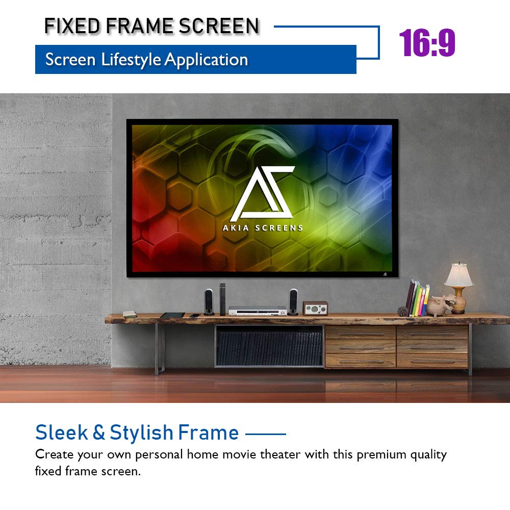 Akia Screens 150 INCH Projector Screen 16:9 Fixed Frame Projector Screen 8K / 4K Ultra HD 3D Ready Movie Projector Screen HD Projector Screen Fixed Frame Series AK-FF150WH2