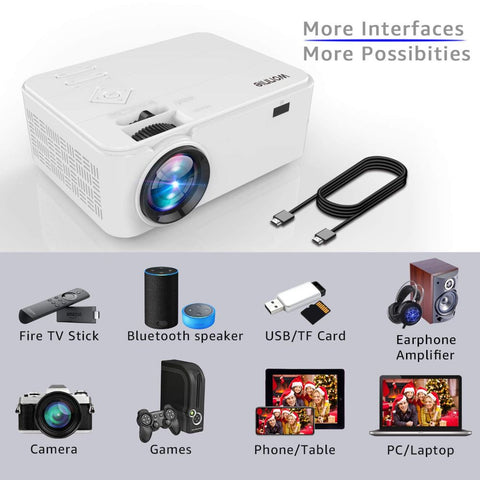 Bluetooth Portable LCD Projector 2600 Lumens with Carrying Bag and Tripod, Compatible with Smartphone, TV Stick, Roku, PS4, XBOX, Full HD 1080P Supported