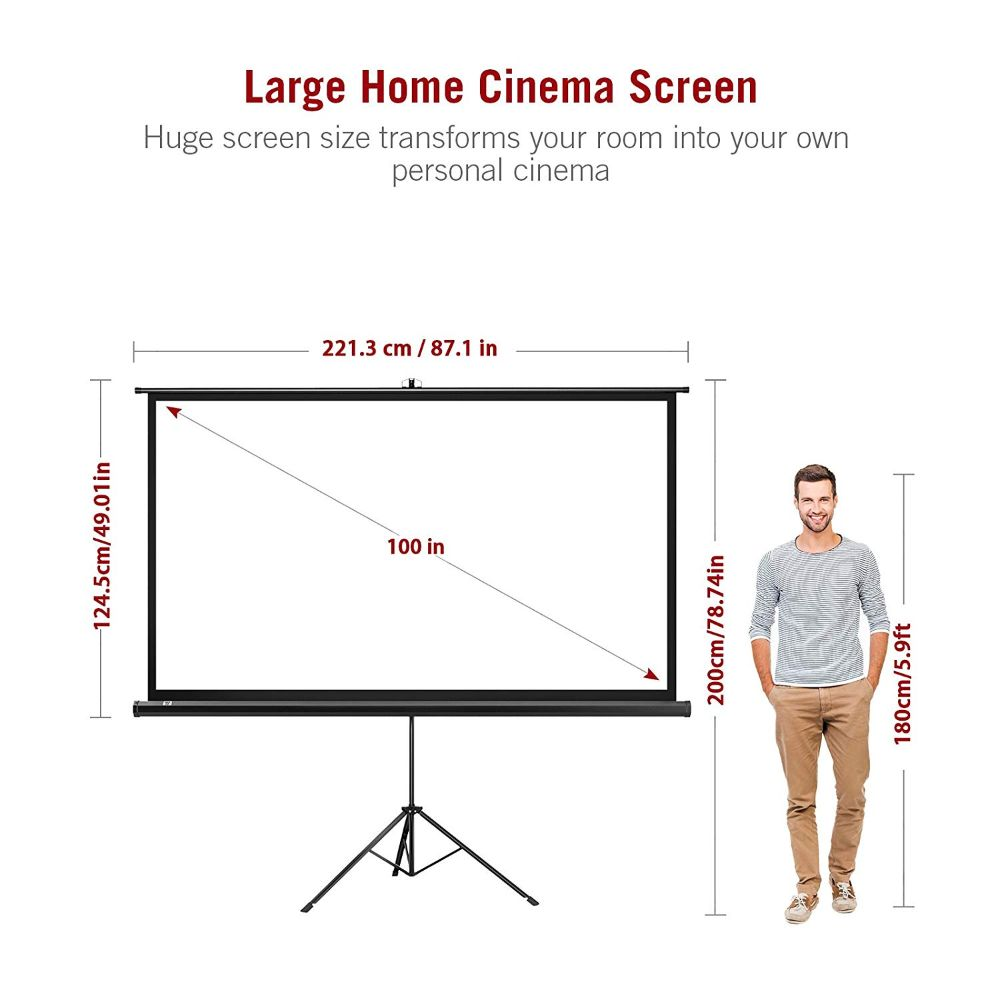 Projector Screen 4K HD 100 Inch 16:9 with Stand