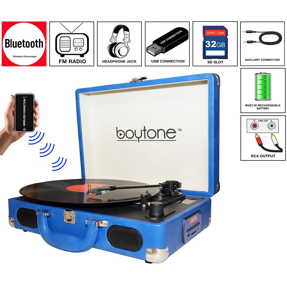 Boytone Bluetooth Turntable Briefcase Record Player Ac-dc, Built In Recharg