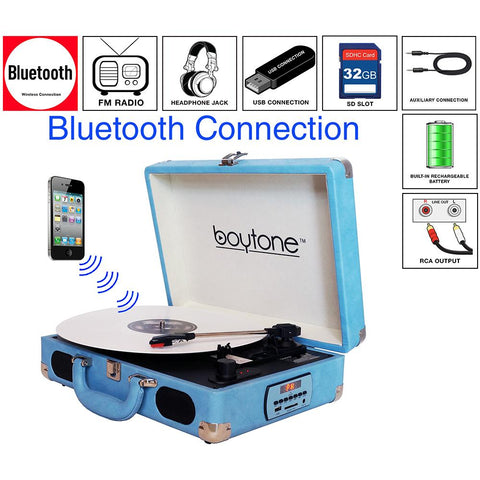Boytone Bt-101lb Bluetooth Turntable Briefcase Record Player Ac-dc, Built In Recharg