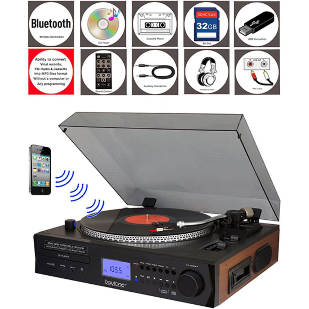 Boytone Bt-11b Fully Automatic Large Size Turntable, Bluetooth Wireless, 2 Built In