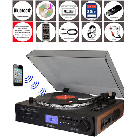 Boytone Fully Automatic Large Size Turntable, Bluetooth Wireless, 2 Built In