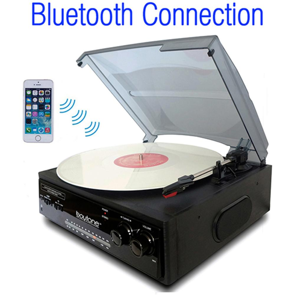 Boytone Bt-13b With Bluetooth Connection 3-speed Stereo Turntable Belt Drive 33-45-7