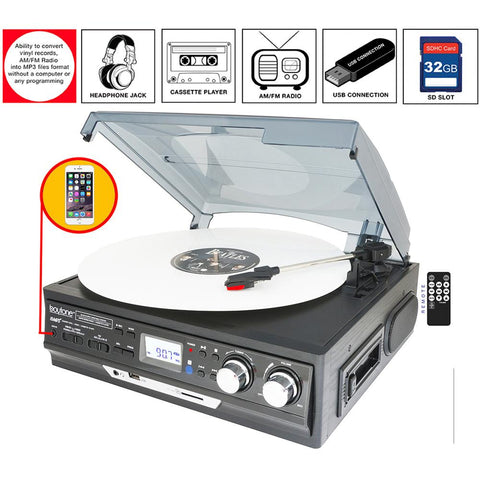Boytone Bt-17djb-c 3-speed Stereo Turntable With Built In Speakers Digital Lcd Displ