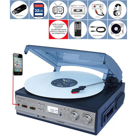Boytone 3-speed Turntable 2 Built In Speakers Digital Lcd Display