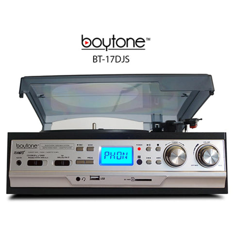 BOYTONE 3-Speed Turntable 2 Built in Speakers Digital LCD Displa