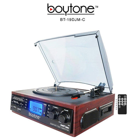 Boytone Bt-19djm-c 3-speed Stereo Turntable - 33-45-78 Rpm With Am-fm Radio