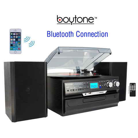 8-in-1 Boytone With Bluetooth Connection, 3 Speed 33, 45, 78 Rpm, Cd, Casse