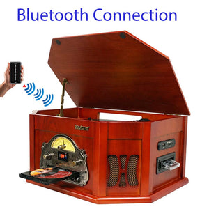 Boytone  8-in-1 Natural Wood Classic Turntable Stereo System With Bluetooth C