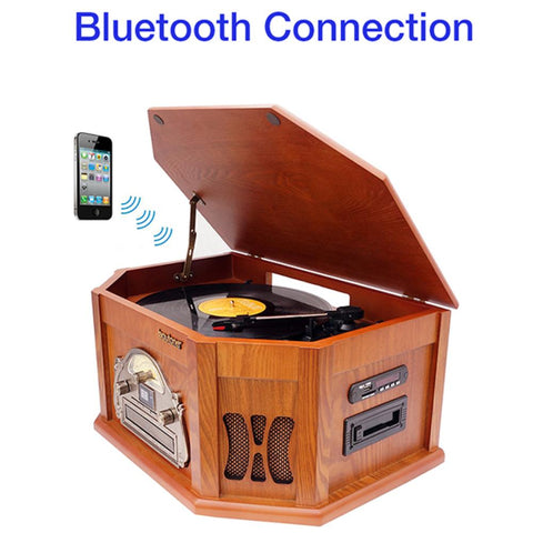 8-in-1 Boytone With Bluetooth Connection Natural Wood Classic Turntable Ster