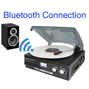 Boytone Bluetooth 3-speed Stereo Turntable, Wireless Connect To Devices Spe