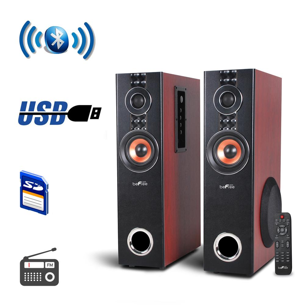 Befree Sound 2.1 Channel Powered Bluetooth Dual Wood Tower Speakers With Optical Input