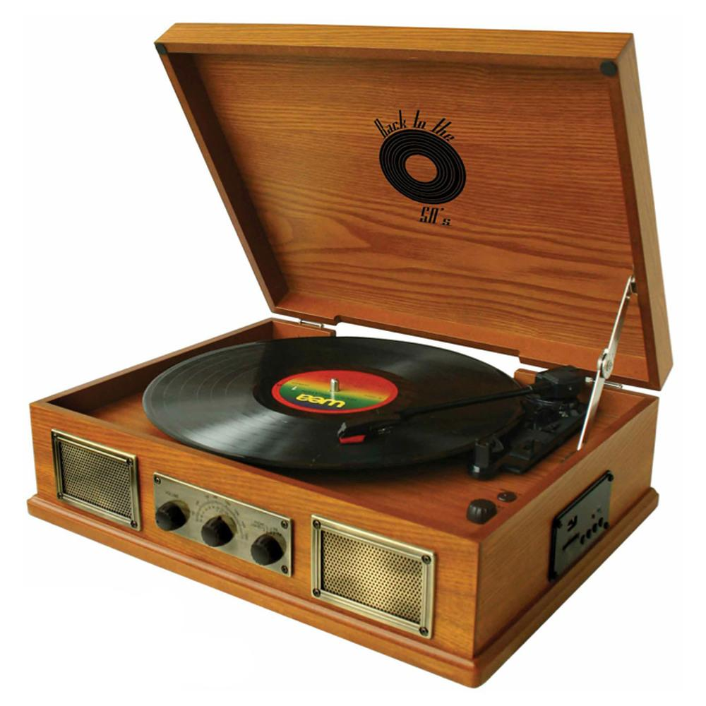 Back To The 50s  3 Speed Wooden Turntable