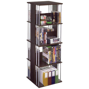 Atlantic Typhoon Media Spinner Unit - Fully Rotates 360 Degrees on a Ball Bearing Base, Holds 216 CDs, 144 DVDs, 4 Fixed Shelves