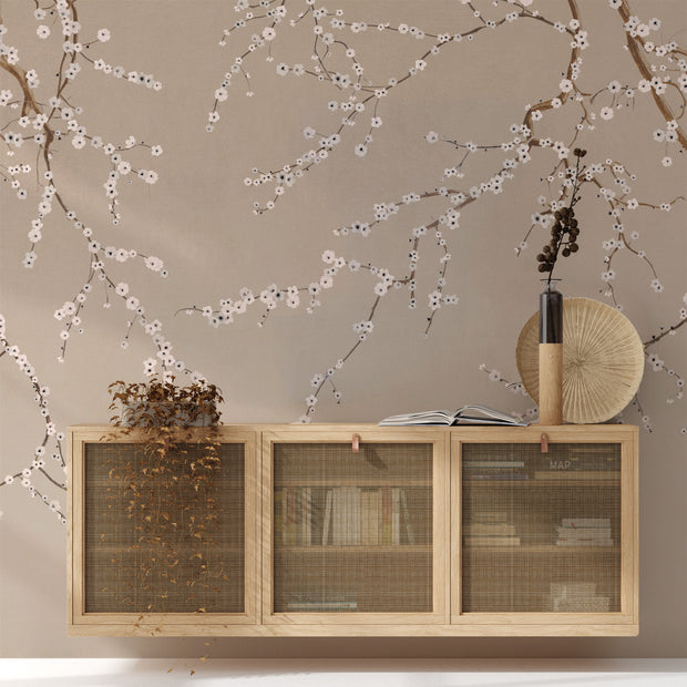 Cherry Blossoms on Taupe