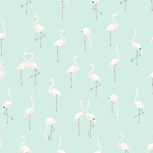 Pale Pink Flamingos on Mint