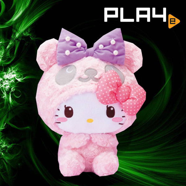 Panda Hello Kitty Furry Pink Hands to Mouth
