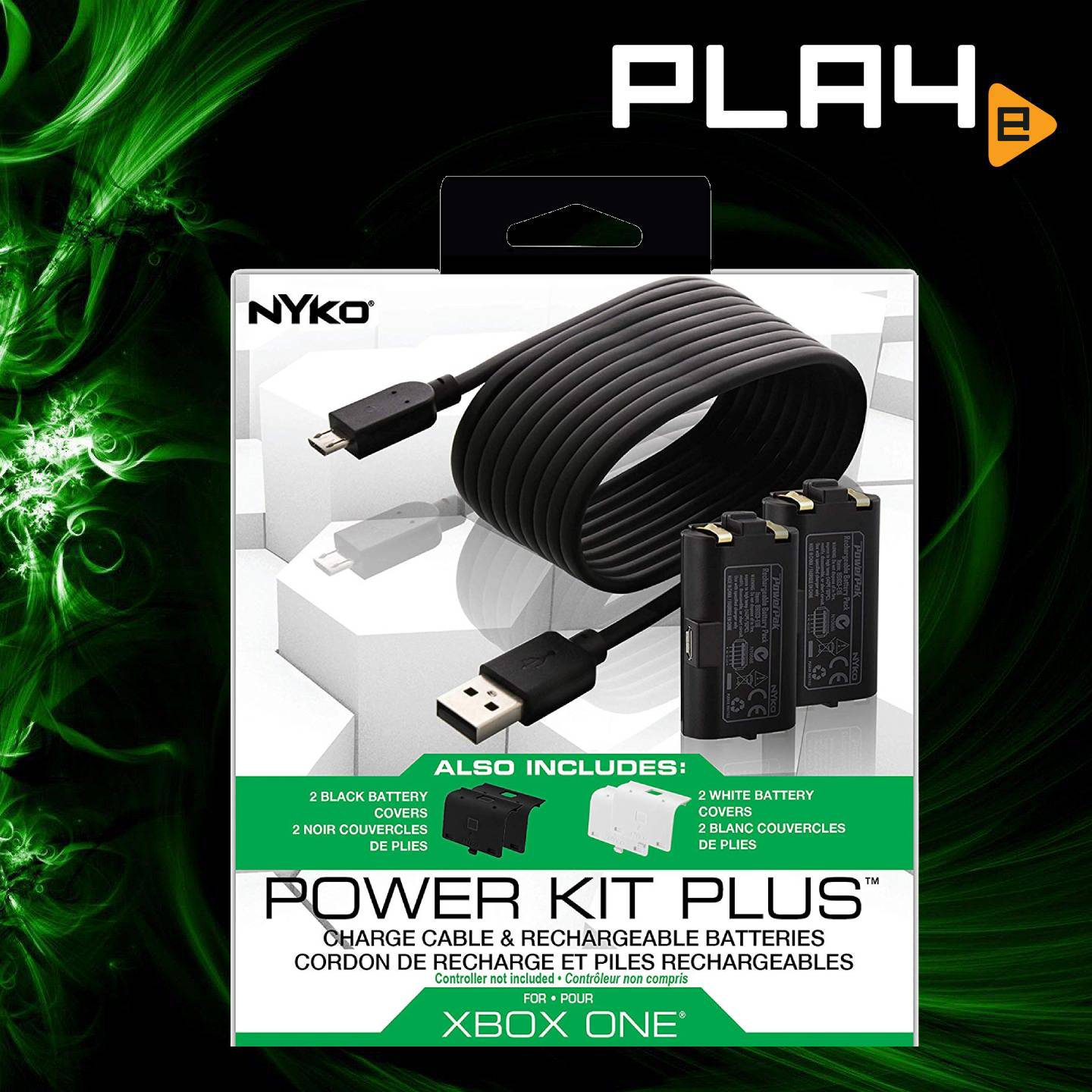 XBox One Nyko Power Kit Plus ( Batt Cover + Battery, Cable) | PLAYe