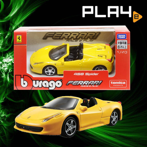 Tomica X Burago 1/43 Yellow 458 Spider Race & Play Ferrari