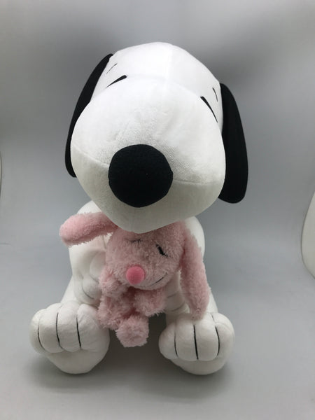 "Snoopy with Pink Rabbit 14"" plush"