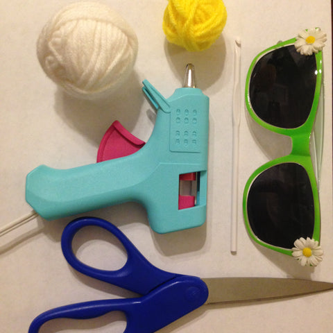 Supplies for making Ashley Zhong's crocheted Funny Sunnies