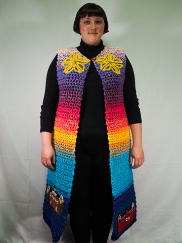 Rochester NY new york flower city jacket coat crochet crocheted Ashley Lee Zhong Snapdragon Brand Rainbow