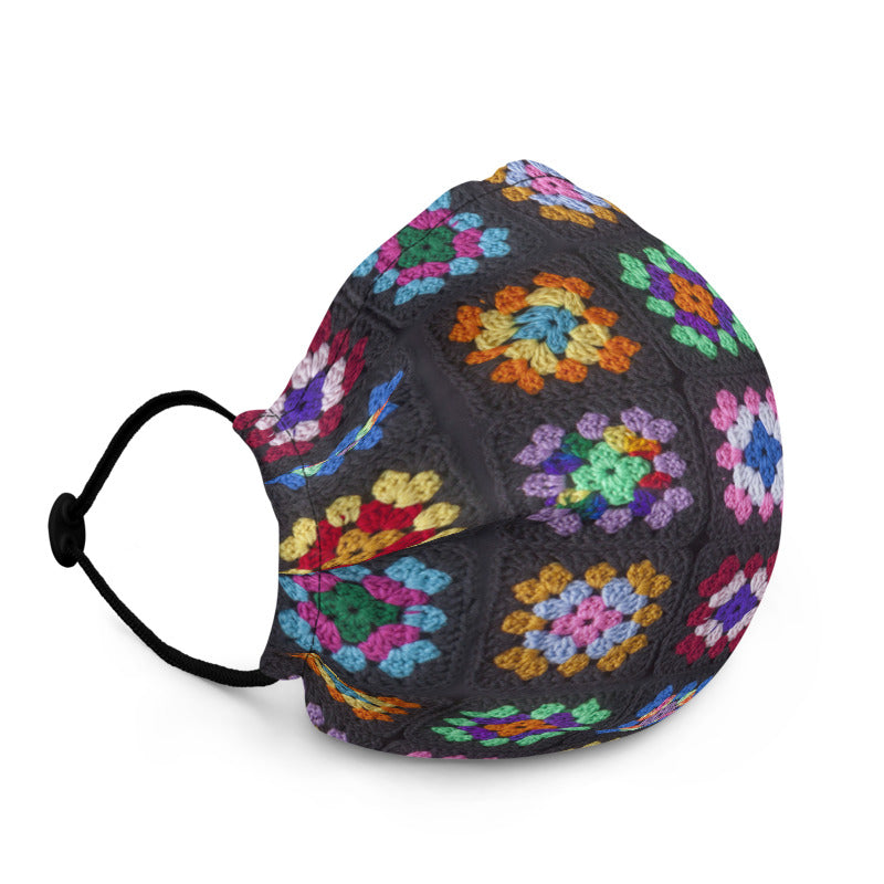 'Kaleidoscope' Classic Granny Square Print Fabric Face Mask