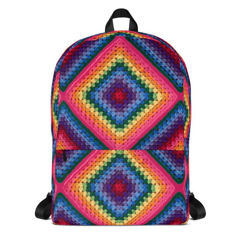 'Rainbow Soul' Crochet Print Backpack