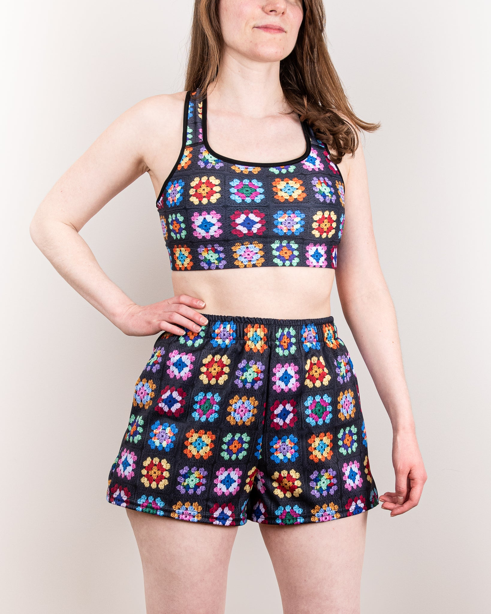 'Kaleidoscope' Classic Granny Square Print Active Shorts