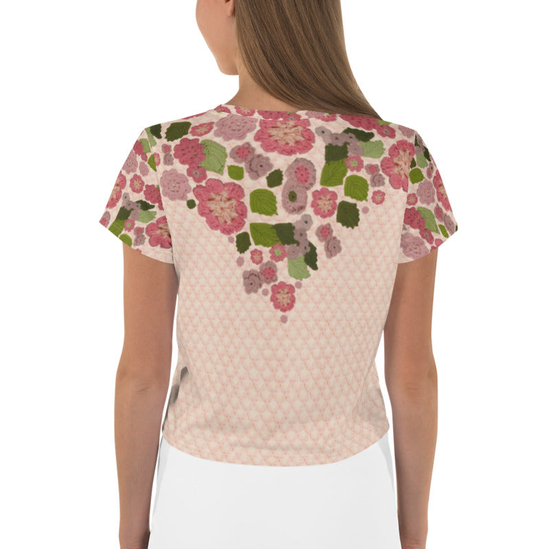 'Pink Posy' Crochet Print Crop Top by Margaret Hubert