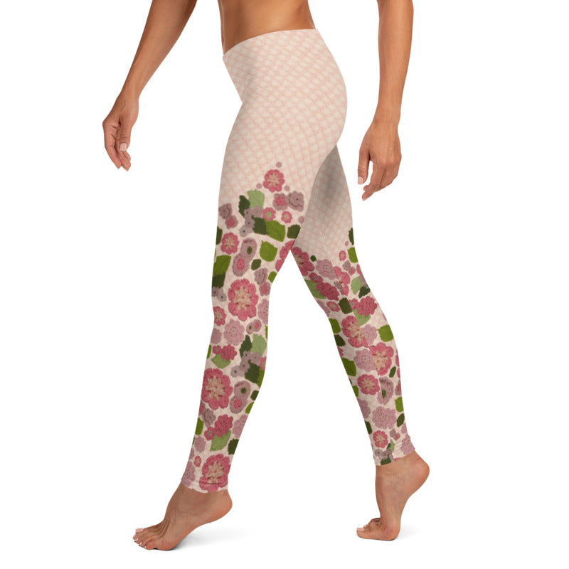 'Pink Posy' Crochet Print Leggings by Margaret Hubert