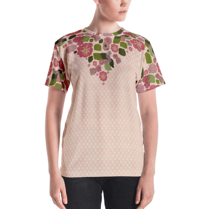 'Pink Posy' Crochet Print T-Shirt by Margaret Hubert