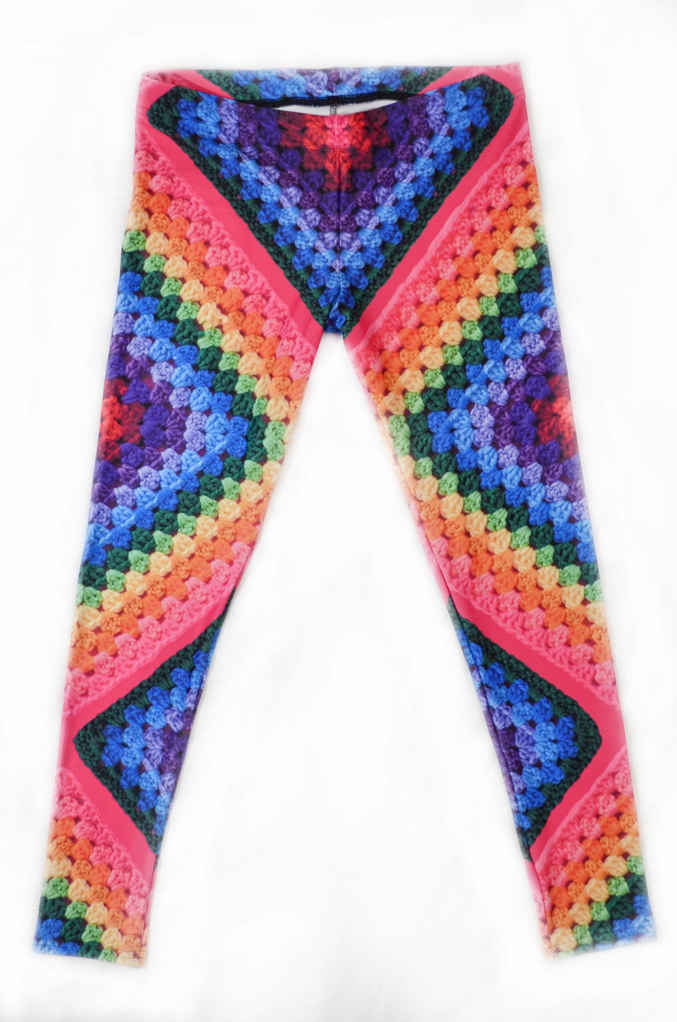 Snapdragon Brand Clothing Granny Square Crochet Print rainbow leggings in style Rainbow Soul features a tie-dye hippie boho feel and a rainbow of colors. Made of comfortable spandex.