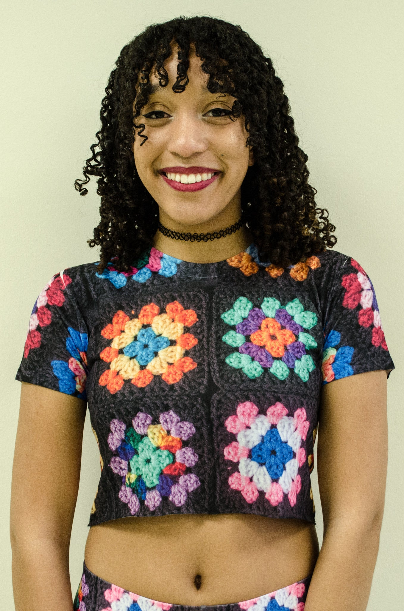 Kaleidoscope Granny Square Crochet Print Crop Top Tee Shirt