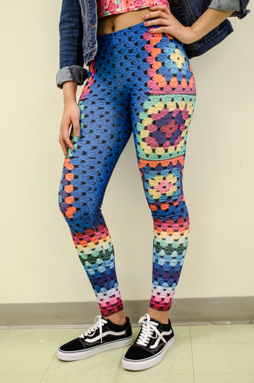 Snapdragon Brand Clothing Granny Square Crochet Print blue leggings in style Beulah feature rainbows and are perfect for festivals. Made of comfortable spandex.