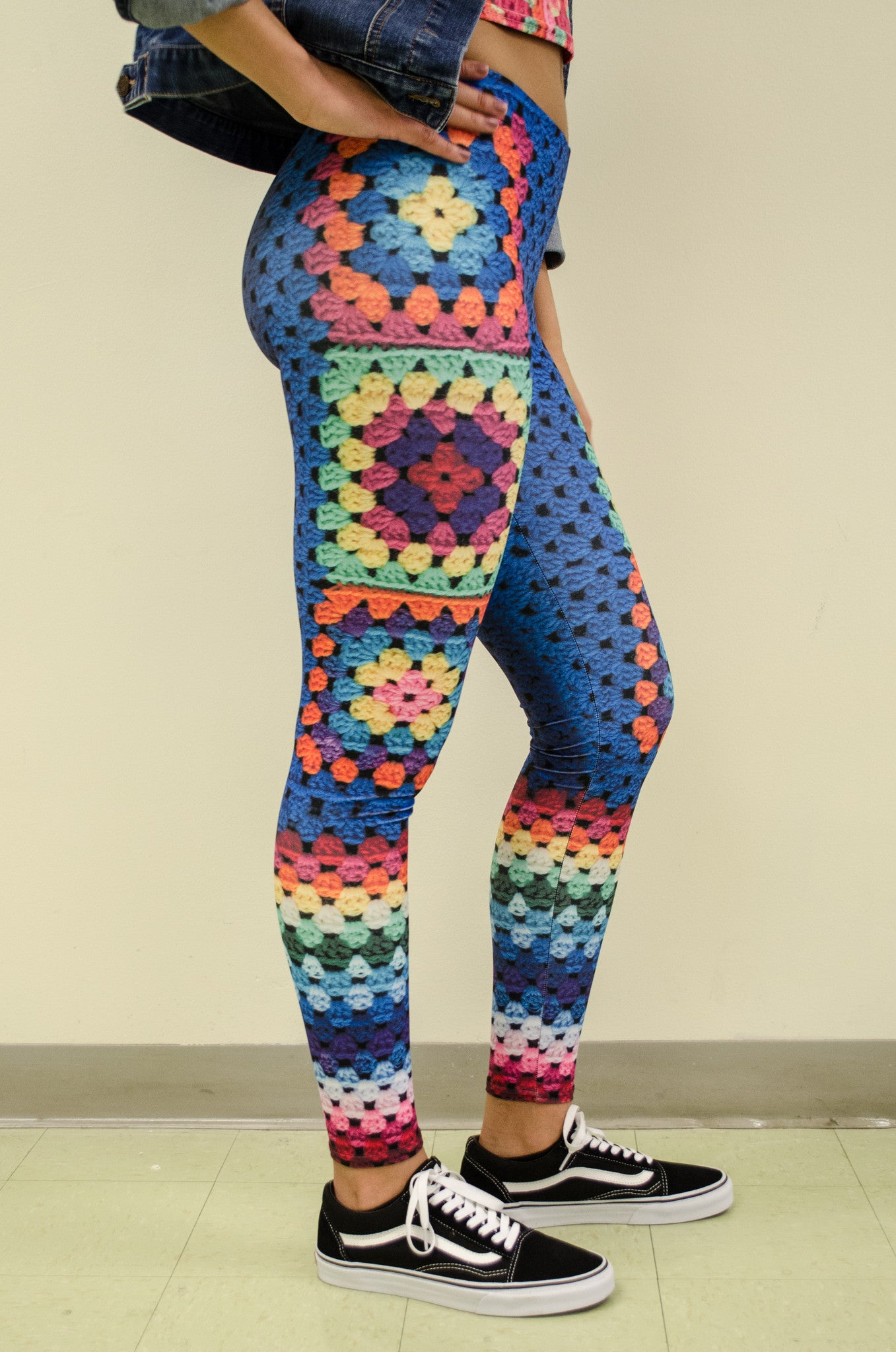 Snapdragon Brand Clothing Granny Square Crochet Print gold leggings in style Snappy features a 1970s vintage feel and a rainbow of colors. Made of comfortable spandex.