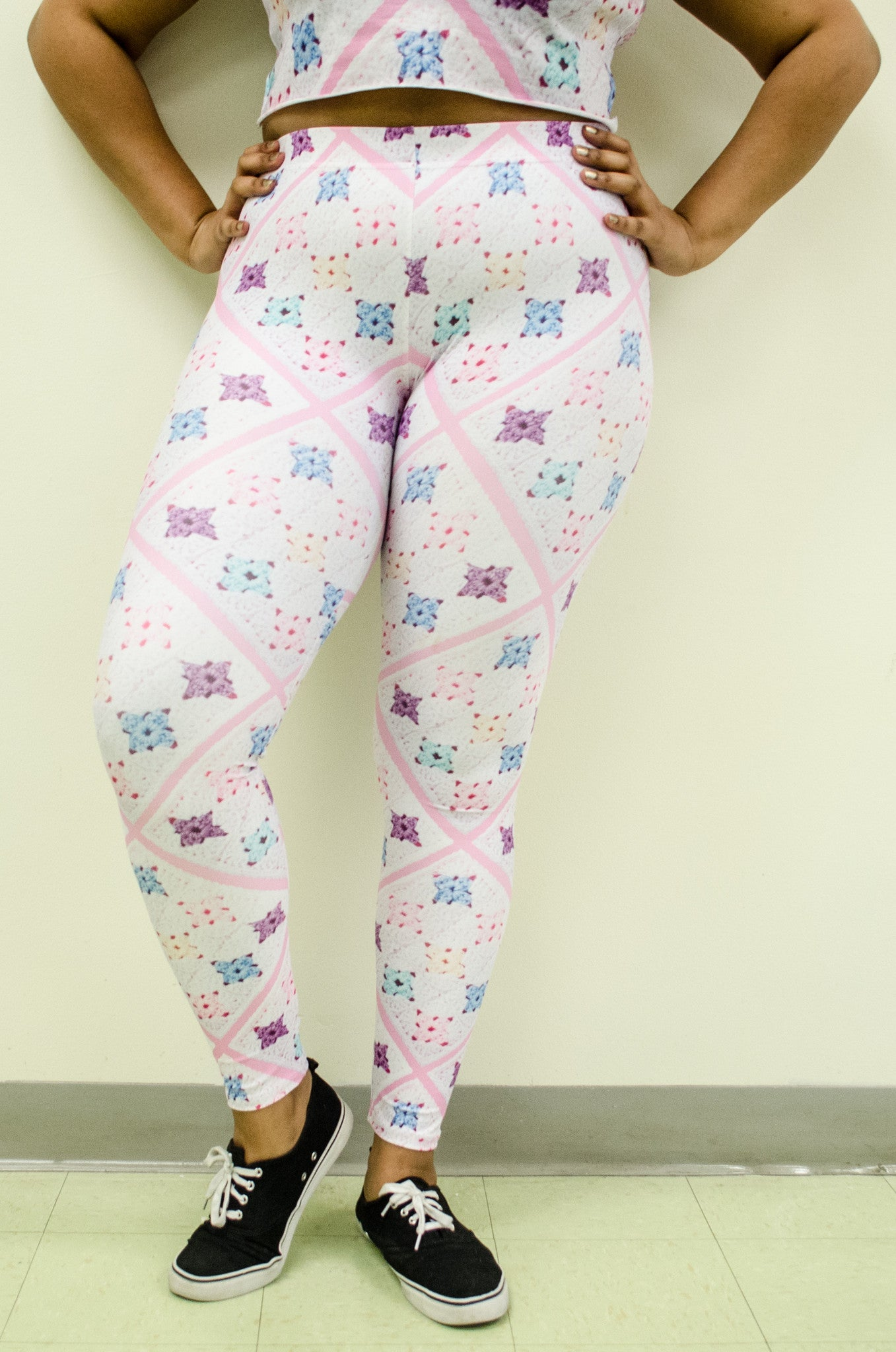 Snapdragon Brand Clothing Granny Square Crochet Print pink and white leggings in style Pretty Baby features a Melanie Martinez boho feel and a pastel rainbow of colors. Made of comfortable spandex.
