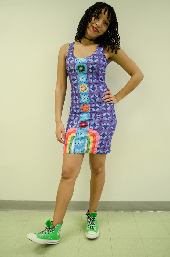 Snapdragon Brand Clothing Granny Square Crochet Print purple dress in style Chakral includes rainbows and four chakra points. Made of comfortable spandex.