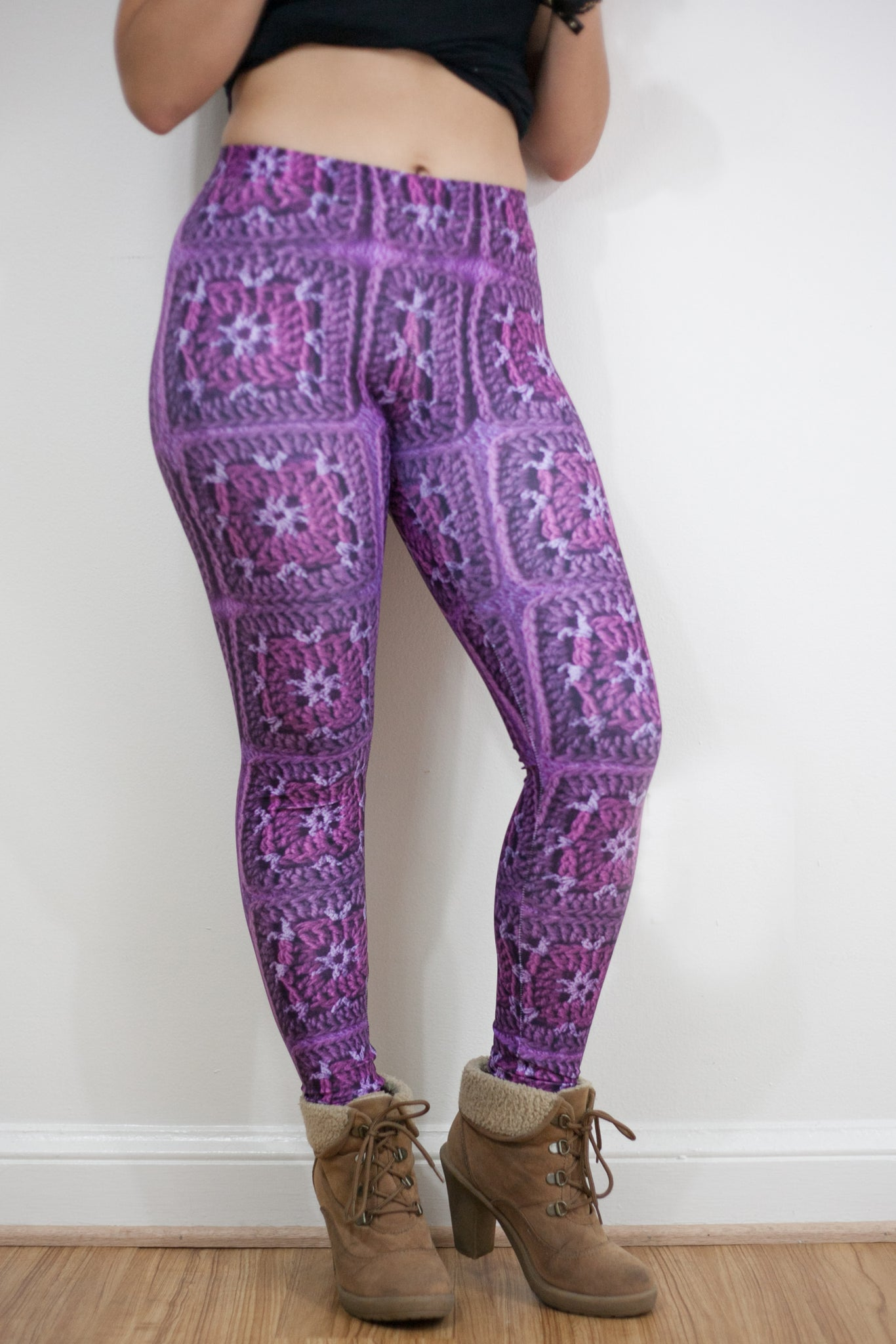 'Rose Dust' Crochet Print Granny Square Leggings