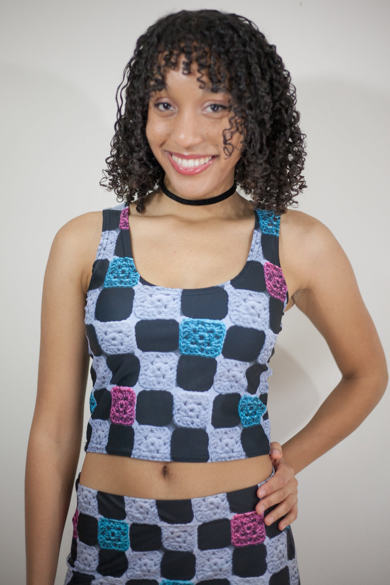 'Chez Chex' Smooth Crochet Print Crop Top