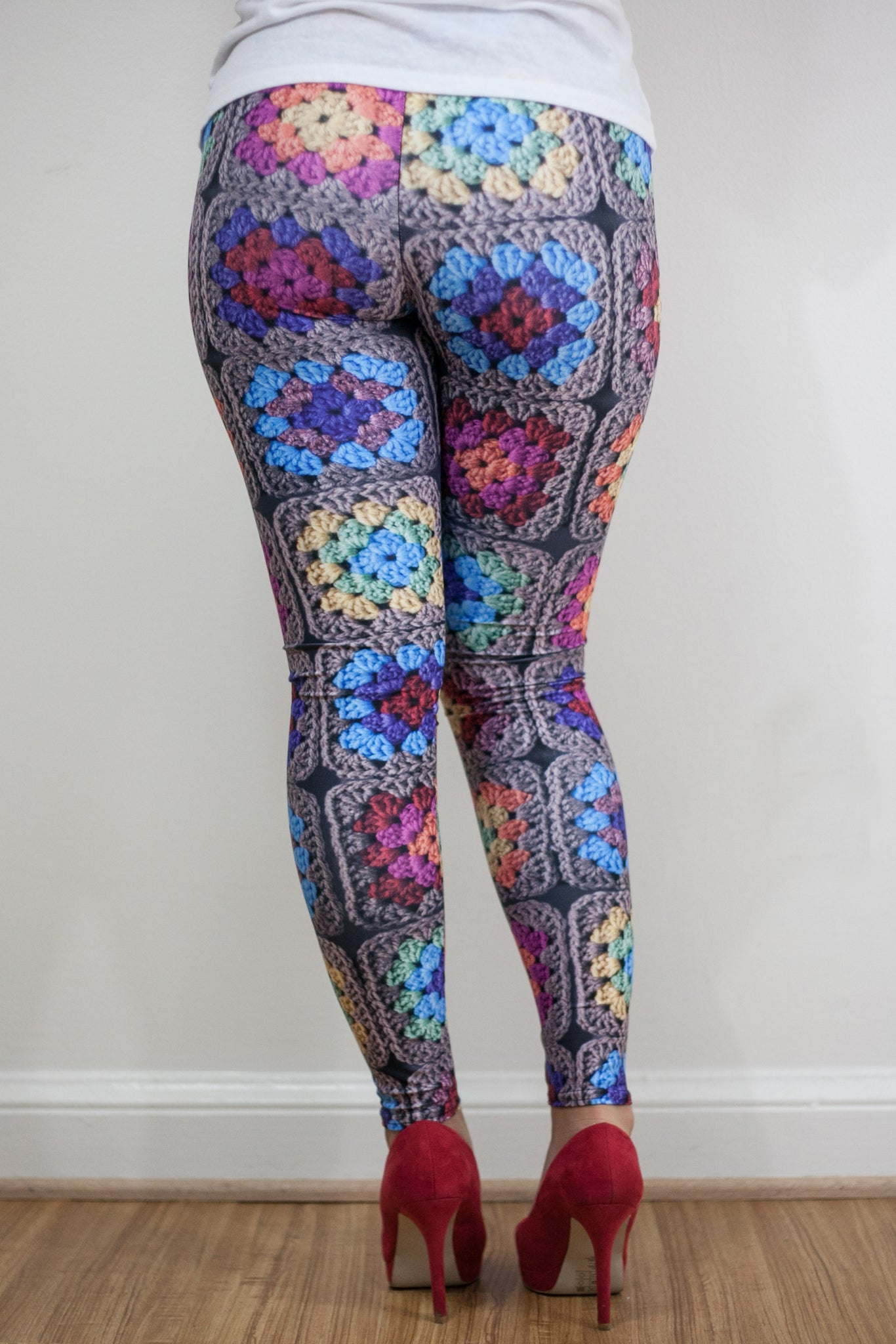 'Harvest Kaleidoscope' Crochet Print Granny Square Leggings