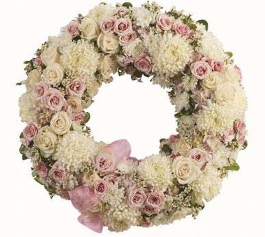 Wreath - Round White and Pink