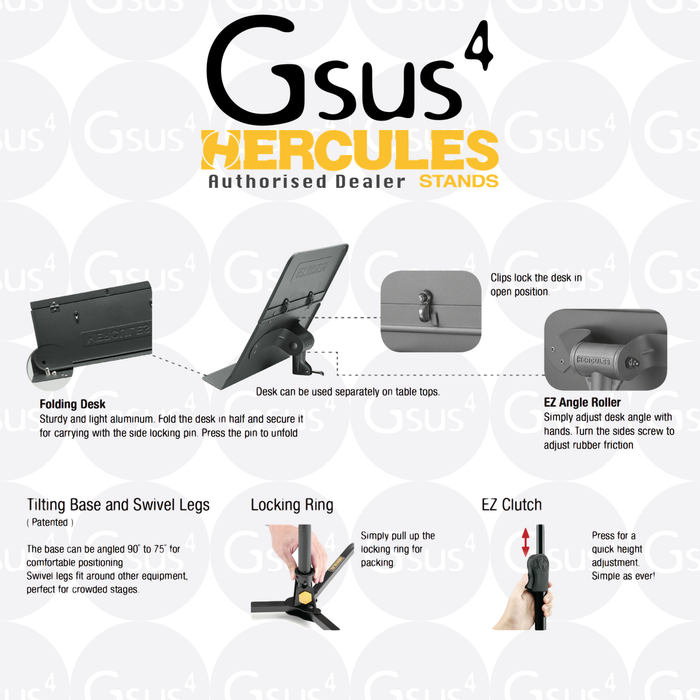 Hercules Music Stand BS301B w/ Ez Clutch - Tilting Base & Swivel Legs - Gsus4
